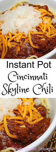 Instant Pot Cincinnati Skyline Chili is a great way to enjoy a classic Cincinnati dish at home. Chili is served on top of spaghetti and garnished with kidney beans, shredded cheese, and diced onion. A great meal for a crowd! | What's Cookin, Chicago?