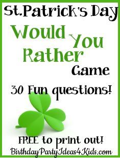 St. Patrick's Day Game! St. Patrick's themed Would You Rather Game! Fun and easy…