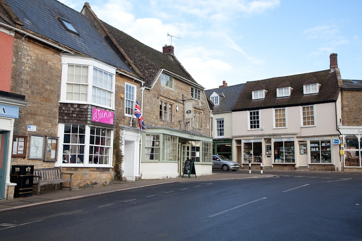 Beaminster's independents shops around the square.  copyright natamagat.