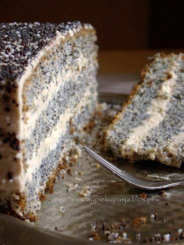Poppy seed cake with white chocolate - Tort makowy z kremem z białej czkolady