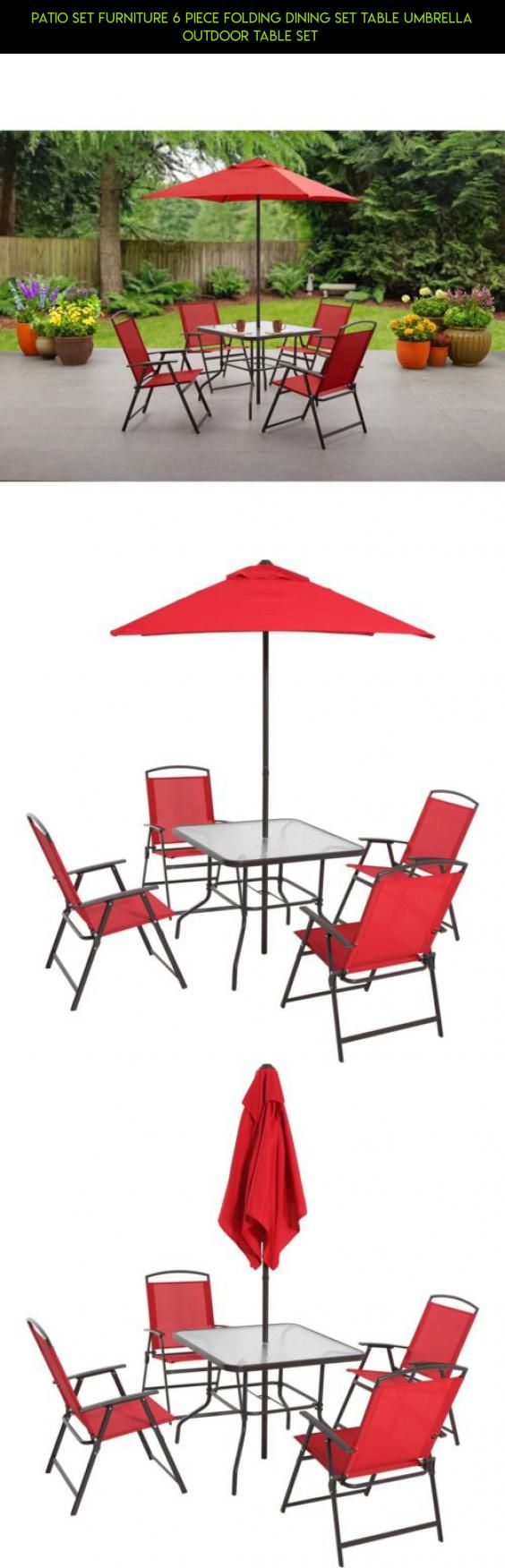 Patio Set Furniture 6 Piece Folding Dining Set Table Umbrella Outdoor Table  Set #fpv #