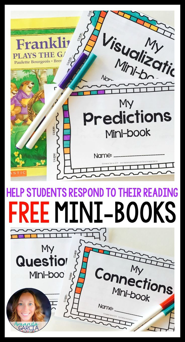 Help your students write about their reading authentically and independently! These free comprehension strategy mini books include pages for making connections asking questions, visualizing, and making predictions.
