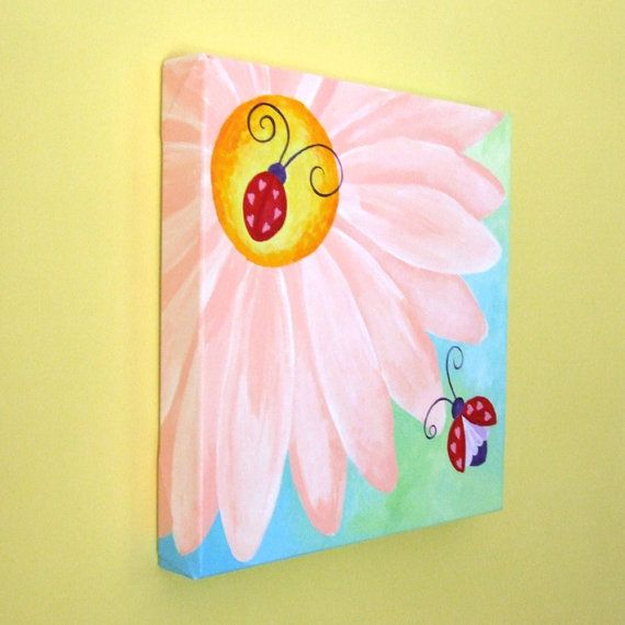2 Little Love Bugs. Acrylic canvas.   Painted for the baby girls nursery.