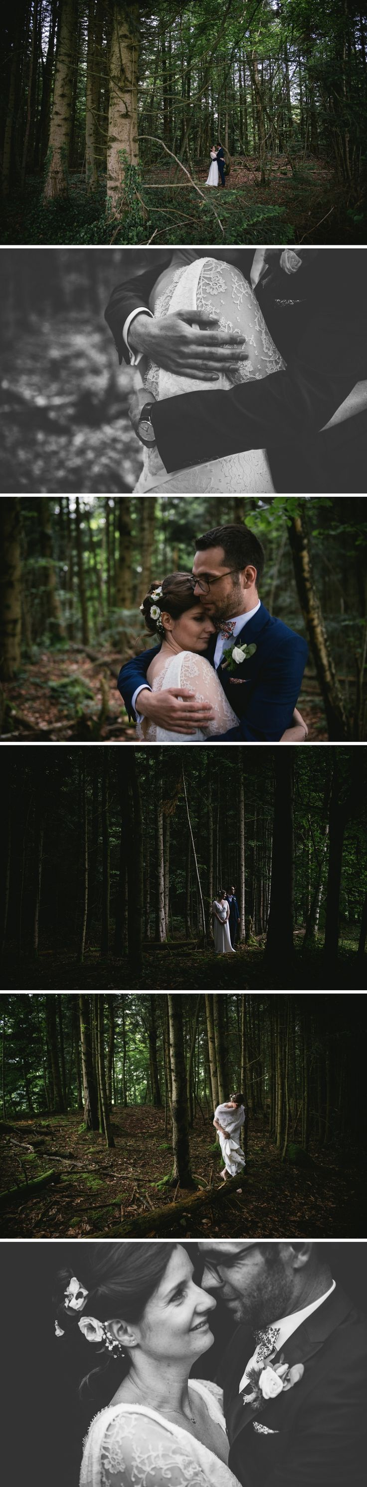 Couples pictures in the forest on their wedding day - french wedding photographer // Zephyr & Luna photography