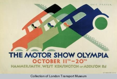 The Motor Show, Olympia, by Eric George Fraser, 1928 - Poster and Artwork collection online from the London Transport Museum