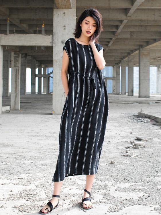 128f0c24c82 Flattering Striped String Waist Long Dress – uoozee