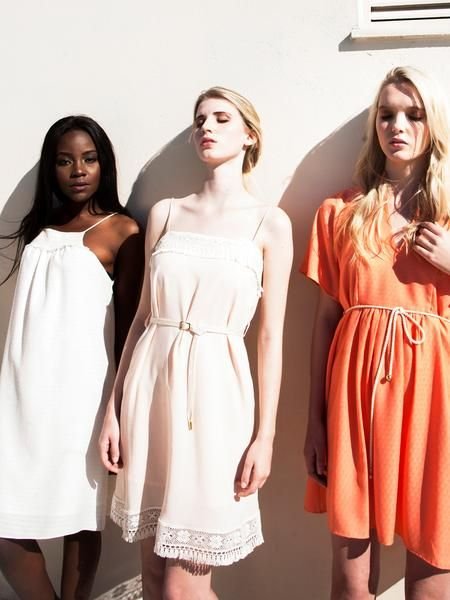 Straight cut dresses / Grecian cut style / Loose fit / ecru / coral / pink