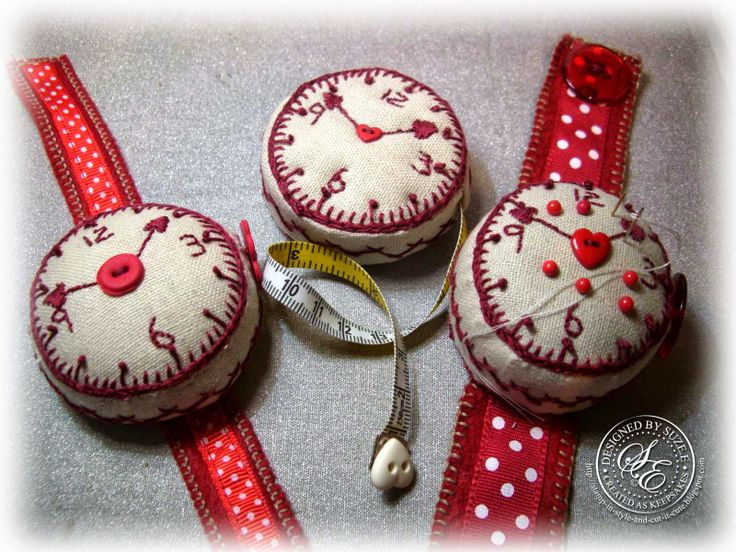 Dandelion Designs (Mandy Shaw) Watch Pin Cushion & Tape Measure Kit and the Spare .. All made from the majority of one Kit.