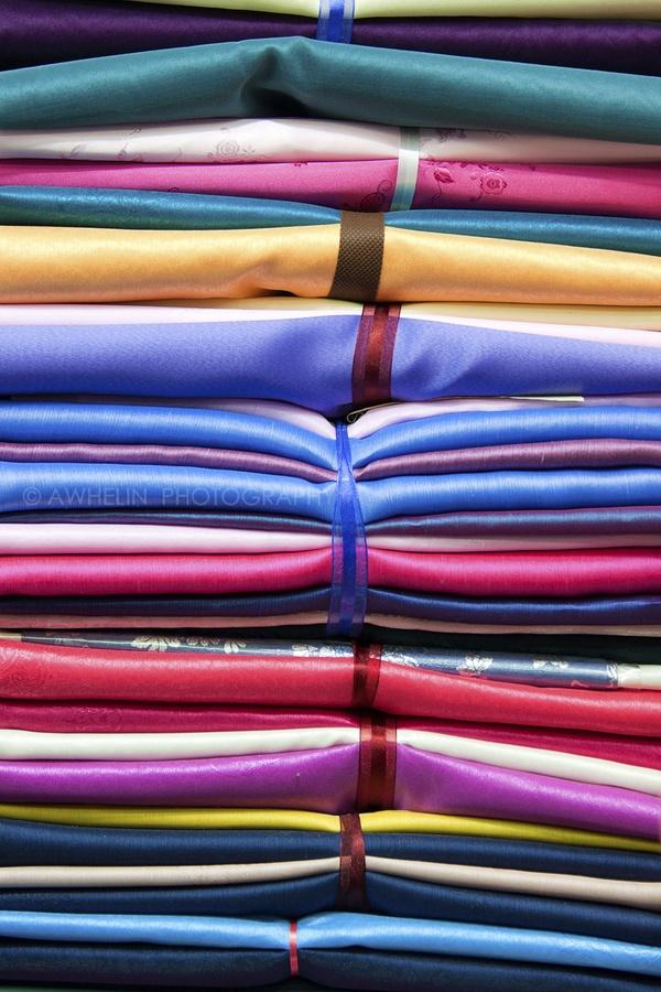 Stacks of Silk for Hanbok