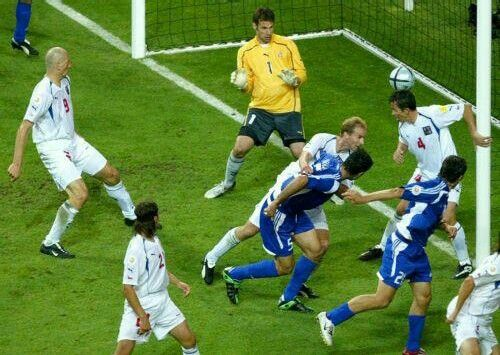 Traianos Dellas (Greek:Τραϊανός Δέλλας) with the header goal off the corner, against Czech Republic, in the 2004 European Soccer Championship Cup semifinals.