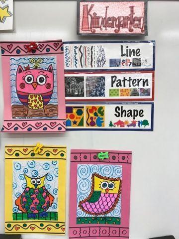 Kindergarten line shape and pattern owls | Jamestown Elementary Art Blog | Bloglovin'