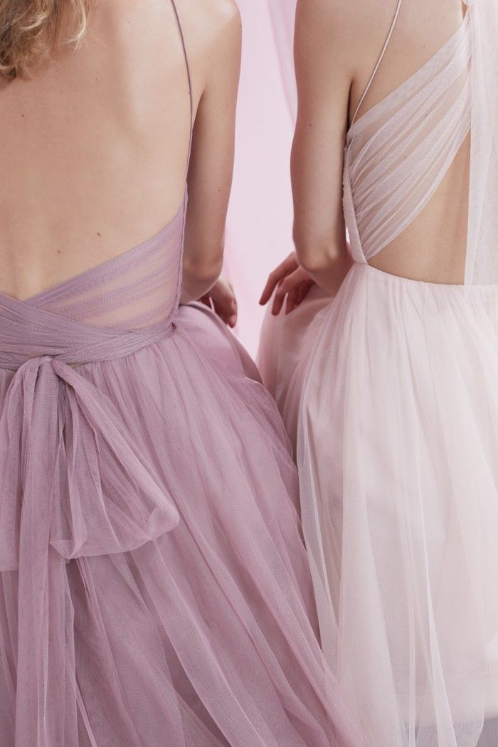 Tulle bridesmaid dresses in rose quartz and blush from BHLDN