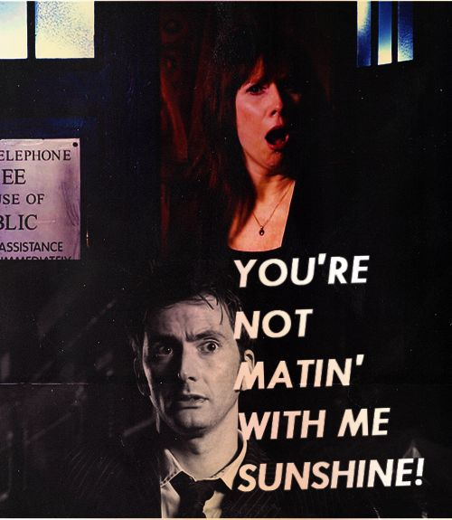 Doctor: I just wanna mate. Donna: you're not mating with me sunshine!! Doctor: What? No! I just want A MATE!! lol