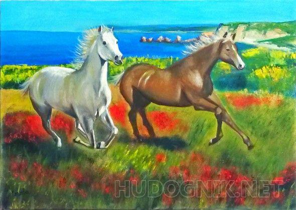 Кони На картине изображены кони в степном Крыму. Кони издавна служили символом вечного бега времени и постоянных перемен. Эта картина наполнит Ваш дом жизненной энергией, здоровьем и успехом.