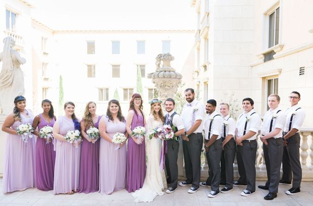 Purple ombre wedding party attire | Manhattan Beach Wedding at Ayres Hotel | Peterson Design & Photography | See more on My Hotel Wedding: https://www.myhotelwedding.com/blog/2016/11/15/manhattan-beach-wedding-ayres-hotel