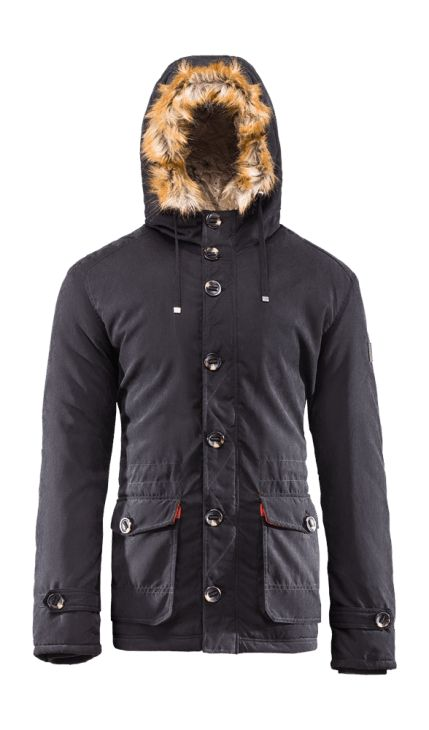 Men's parka jacket with built-in adjustable waist, which allows individual regulation and underlines the men's shapes. Removable fur let you quickly change the style of the jacket, for a more sporty or elegant.   Benefits: -two, big front pockets -integrated hood, protecting from the cold -inner wallet pocket