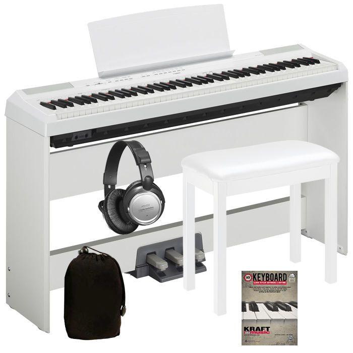 Yamaha P-115 Digital Piano  White COMPLETE HOME BUNDLE
