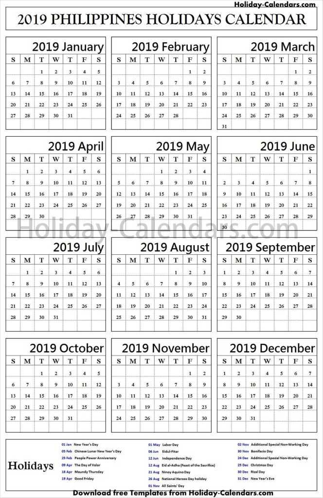 Philippines Bank Holidays 2019 Excel Holiday Calendar Calendar