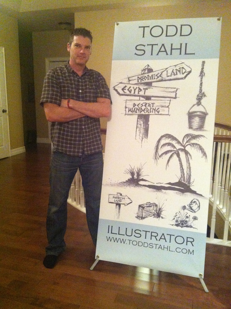 "Todd's ""Illustrator"" Banner came in! Getting ready for book signings."