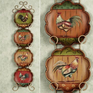 King Of The Barnyard Rooster Decorative Plate Set Rooster Kitchen Decorrooster Platesrooster Decorcountry
