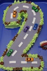 Carved '2' road/transport cake