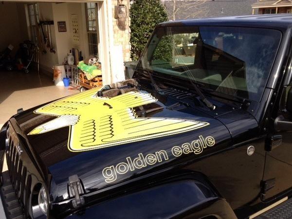 Jeep Wrangler Retro Golden Eagle Hood Decal Kit In Full Color