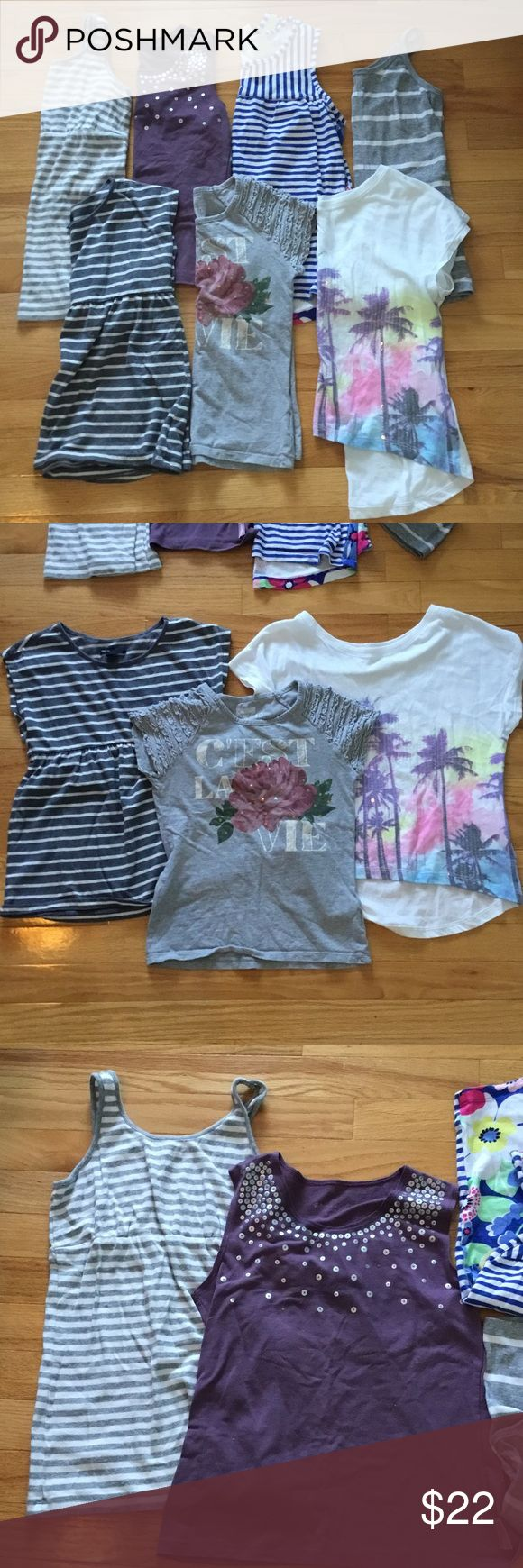 Gap, Gymboree, American Girl Tops Lot American Girl purple tank size 10/12. Gymboree blue striped tank with Floral back size 10-12. Old Navy gray/white striped spaghetti strap tank size 10/12. Osh Kosh gray C'est La Vie Gray Top size 10. GapKids gray/white striped Shirt Sleeve top size 10. GapKids striped tank size XL (fits like 10). Limited Edition PSNY Palm Tree slouchy Top size 12 (runs small). GAP Shirts & Tops Tees - Short Sleeve