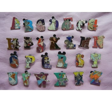 rachel p you need this for baby girl to teach her the alphabet such a cute idea disney trading pin 2011 hidden mickey alphabet letter 26 set cast