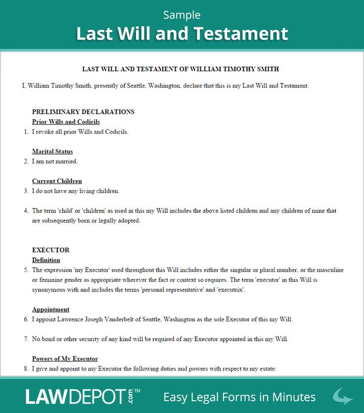 Sample Last Will And Testament Form Living Will Examples