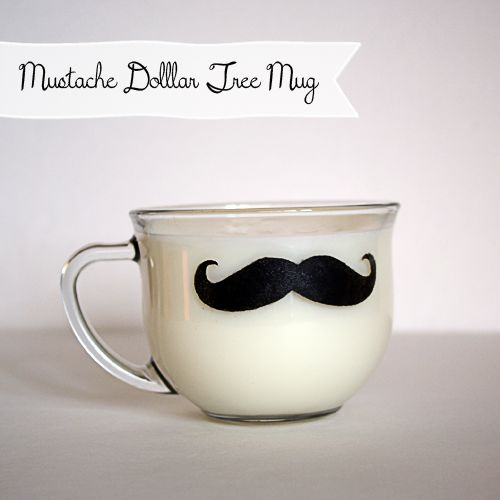 @DollarTree Mug Stenciled Mustache; Great #DIY #GiftIdea @Johnnie (Saved By Love Creations) Lanier