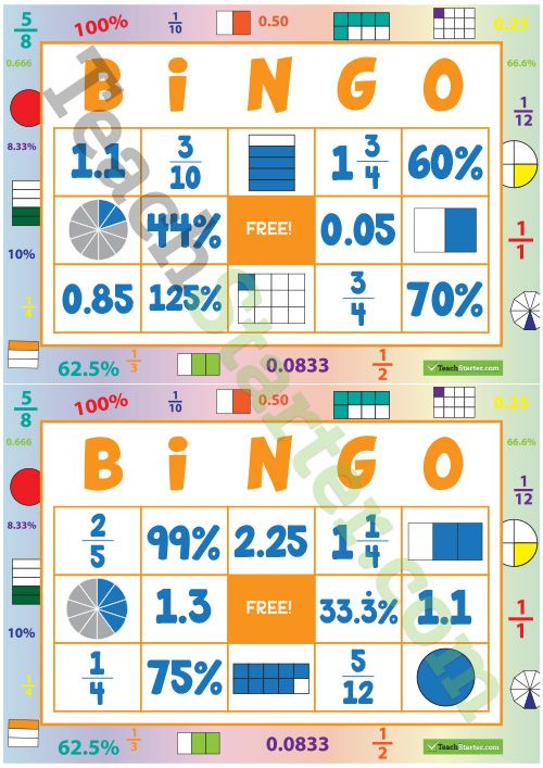 32 different bingo cards using fractions, decimals and percentages. http://teachstart.co/1wpFszy