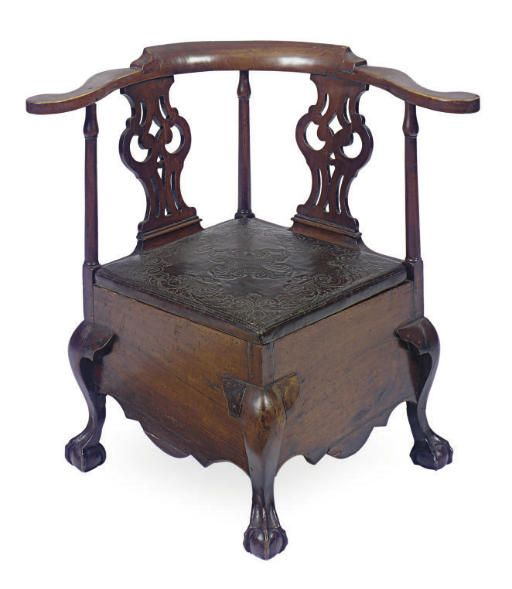 18th century commode chair, made to fit into the corner of a room. - 69 Best Chamber Pots - Commodes Images On Pinterest History