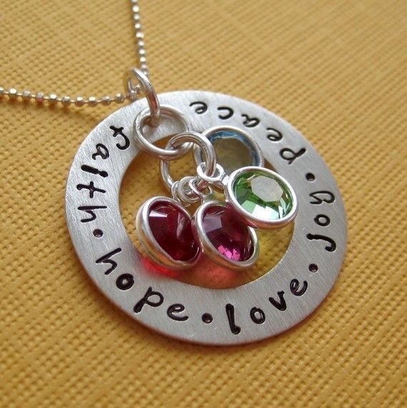 Hand Stamped Jewelry - CIRCLE of LOVE - Mothers Birthstone Necklace - Personalize with names dates and birthstones (NN031). $49.00, via Etsy.
