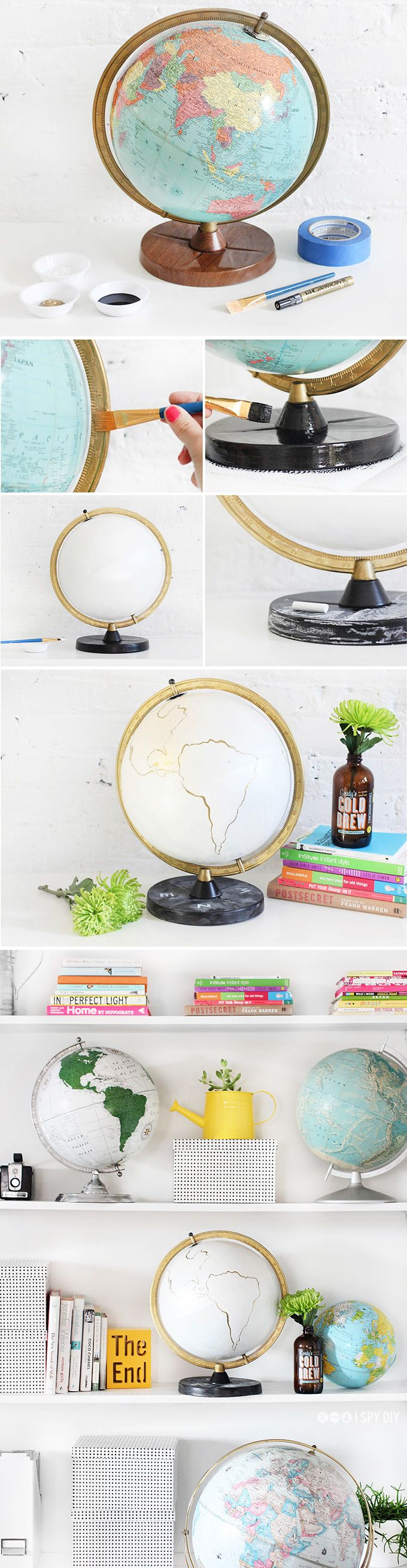 DIY STEPS | Gold & Chalkboard Globe