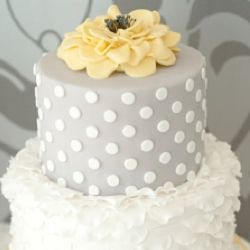 Yellow and Grey wedding cake - love the second tier. Maybe diff design on top tier & purple instead of yellow.