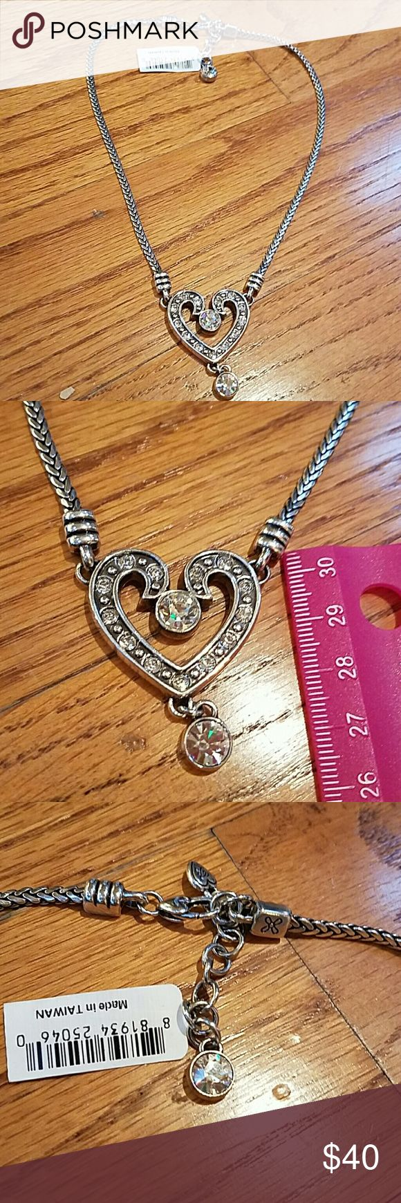 "Brighton Silver Rhinestone Crystal heart Necklace New with tag, approx 16"", Brighton Jewelry Necklaces"