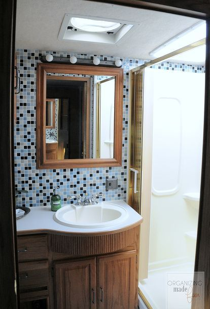 rv motorhome bathroom makeover, bathroom ideas, small bathroom ideas