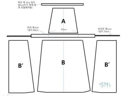 [아틀리에누] 주름 앞치마 패턴 그리는 방법 : 네이버 블로그