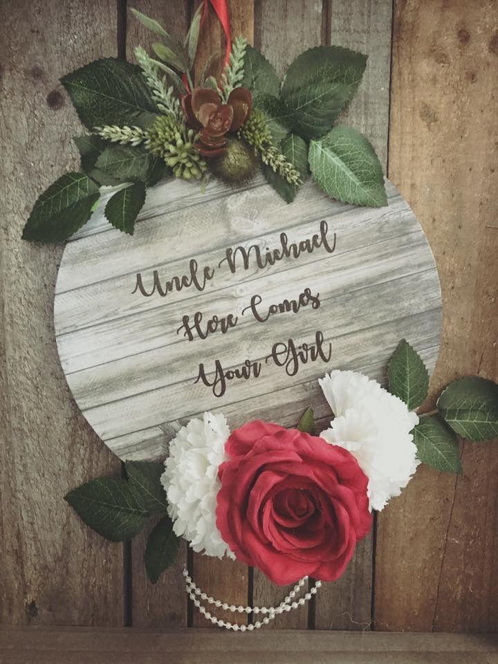 Flower girl rustic wedding signs.