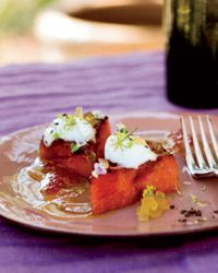 Grilled Watermelon with Yogurt Recipe from Food & Wine: Feta Cheese, Creamy Yogurt, Watermelon Recipe, Eating, Grilled Watermelon, Greek Food, Fruit Desserts, Yogurt Recipe, Greek Yogurt