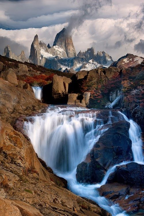 Waterfall Mountain - Monte Fitz Roy, Argentina.