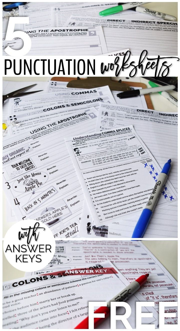 Before they get to high school, students need to be able to identify and correct errors in punctuation. These five worksheets will help your students practice this skill in a fun and engaging way. All worksheets come with detailed answer keys.  | by Stacey Lloyd