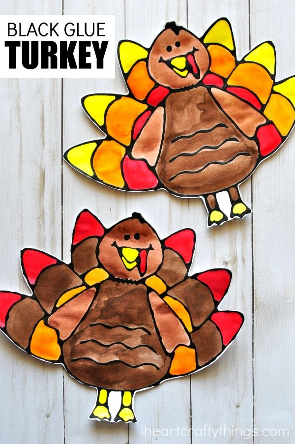 Black Glue Turkey Art Project | I Heart Crafty Things