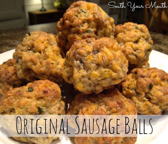 South Your Mouth: Original Sausage Balls Original Sausage Balls View photos and entire recipe article HERE Recipe by South Your Mouth Original Sausage Balls 3 cups Bisquick baking mix 1 pound pork sausage (I used 'hot') 16 ounces sharp cheddar cheese, shredded (4 cups) 1/4 cup chopped fresh chives or parsley (optional)