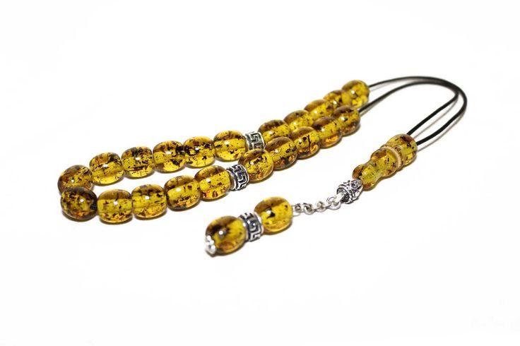 Champagne Amber color Worry Beads, Handmade Greek Komboloi, Black cord & Round Barrel Beads, Relaxation, Meditation by AlterDecoCoinsnBeads on Etsy #worrybeads #komboloi #Greece #tasbih #prayerbeads
