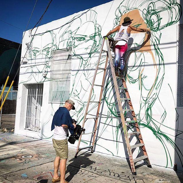 "That time when we filmed the process of this ""badass"" wall during Basel 2017 #claudialabianca #miaminewtimes #newtimes #miami #wynwood #peopleoftheyear #2017 #streetart #bigbootygirls #accomplishment #femaleempowerment #womenempowerment #girlpower #girlboss #badass #article #blessed #grateful #dreamdocometrue #sculprure #statue"