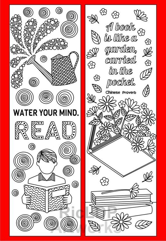 Set Of 8 Coloring Bookmarks With Quotes About Books And Reading Cute Doodle Markers Boy Girl Artworks Digital Download Coloring Bookmarks Bookmarks Printable Bookmarks Kids
