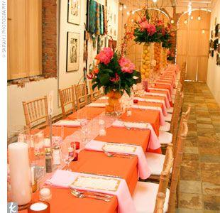 orange and brown wedding reception   ... orange runners, and orange napkins; the other side had orange