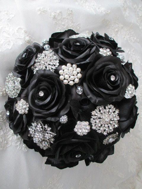 Black Magic Silk Rose Brooch Bridal Destination Feather Goth Steampunk Bouquet