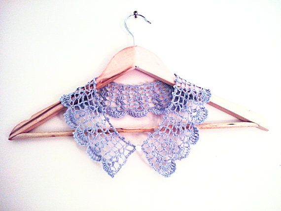 Handmade crochet  linen collar necklace  Pale pink or by LOLAsHome, $20.00